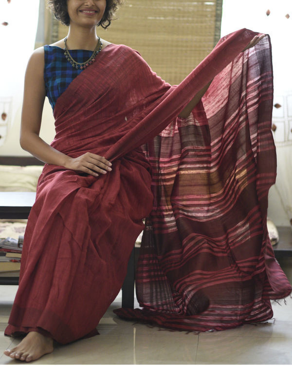 Tussar silk maroon rose sari 3