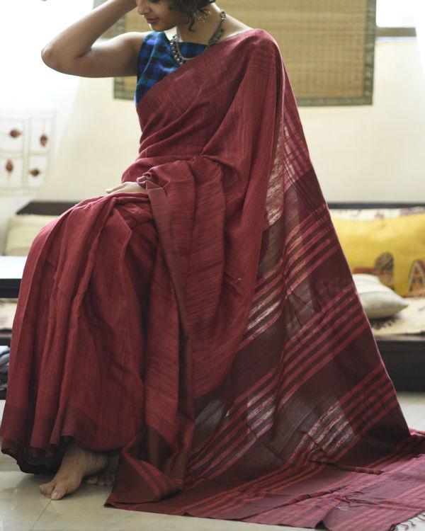 Tussar silk maroon rose sari 2