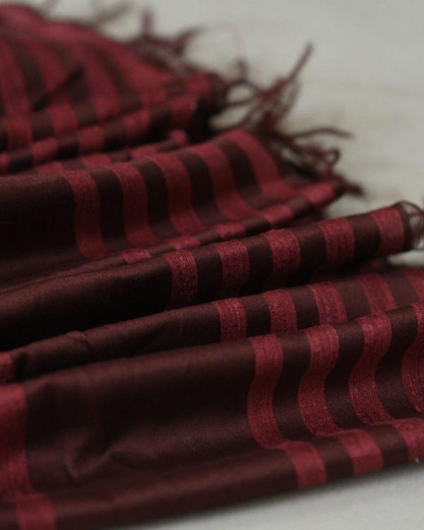 Tussar silk maroon rose sari 1