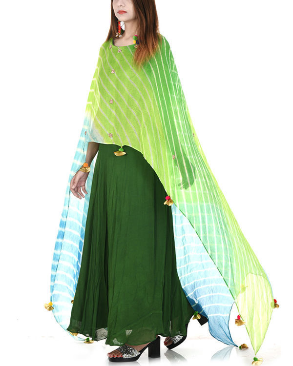 Green leheriya cape dress 3