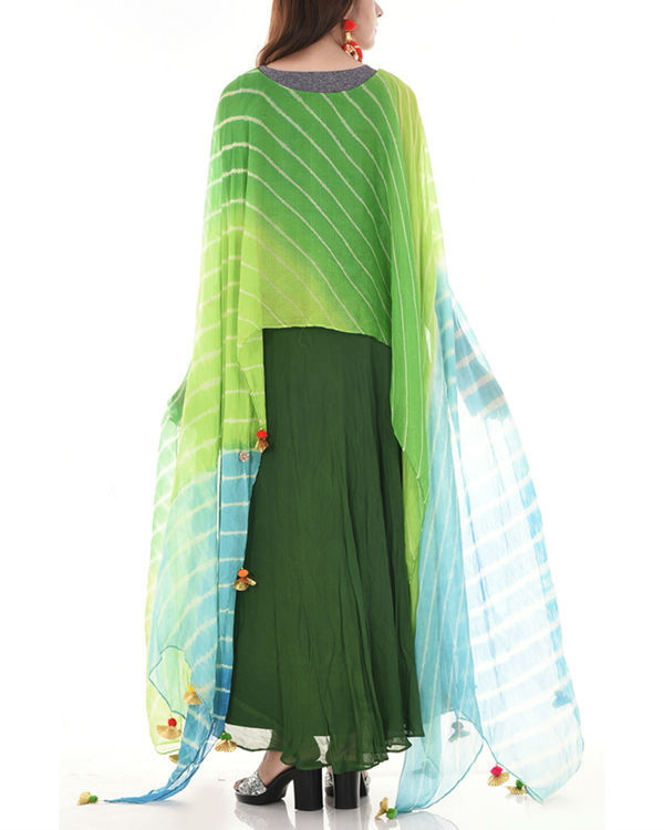 Green leheriya cape dress 1