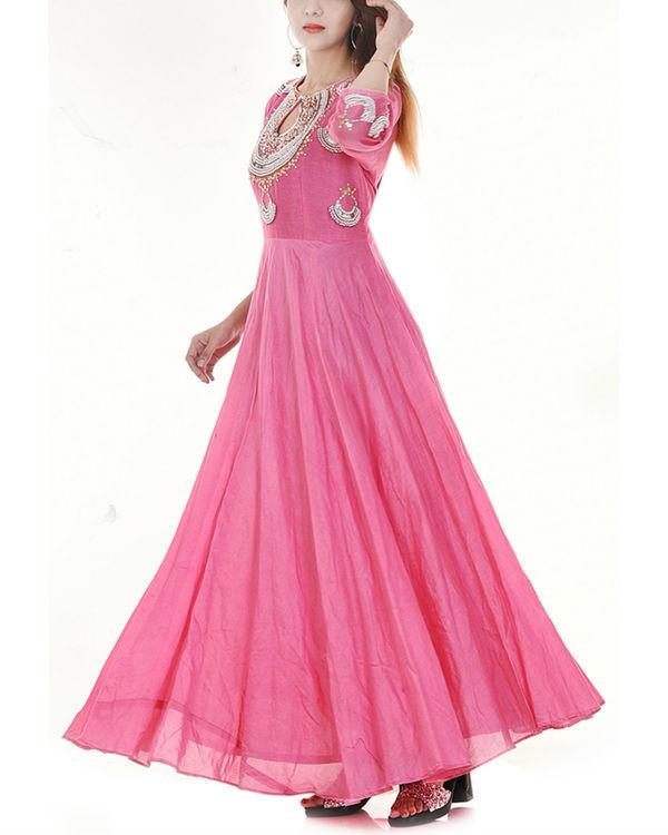 Pink long flared dress 3