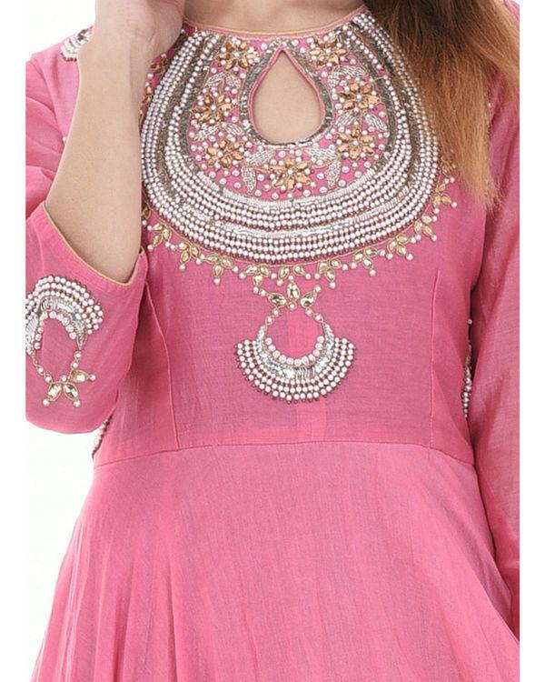 Pink long flared dress 2