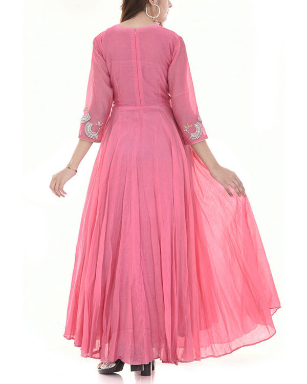 Pink long flared dress 1