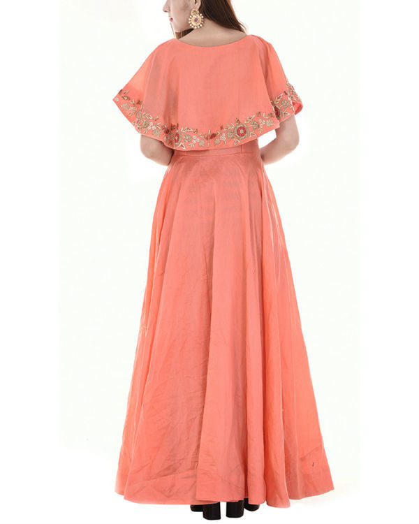 Peach cape dress 3