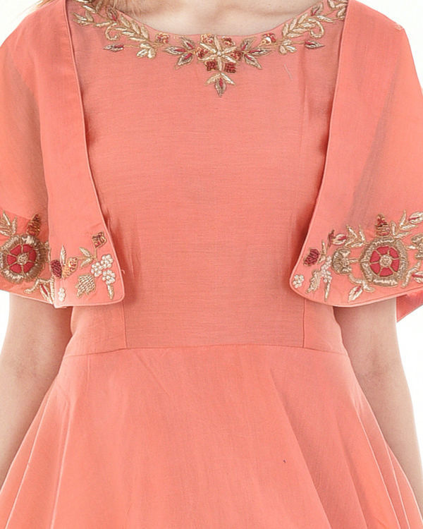 Peach cape dress 2