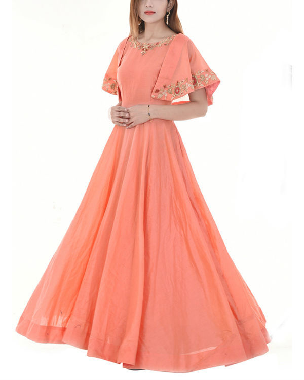 Peach cape dress 1