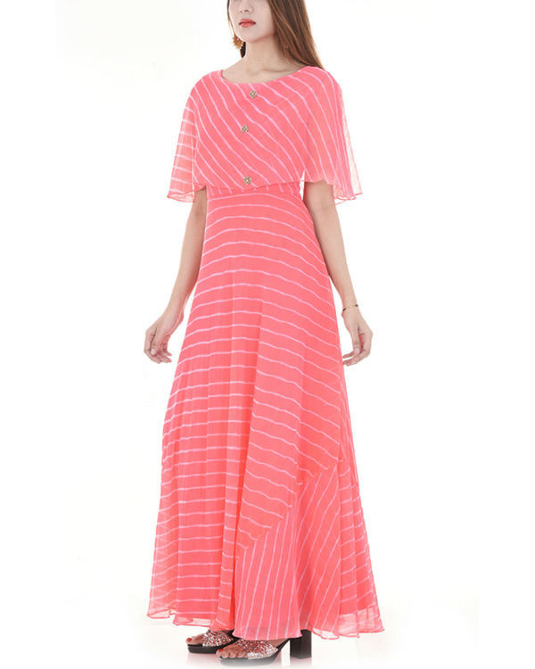 Pink leheriya cape dress 3