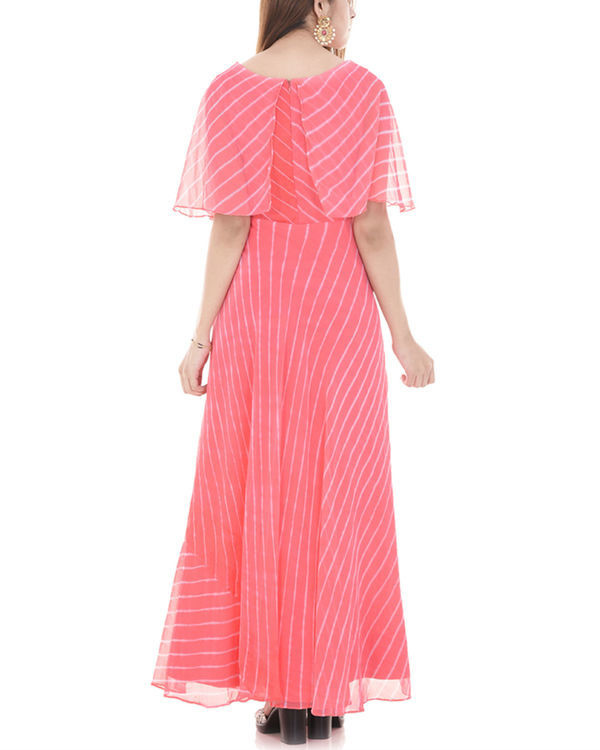 Pink leheriya cape dress 2