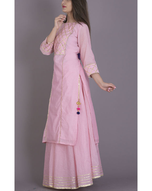 Baby pink gota kurta with flared skirt 3