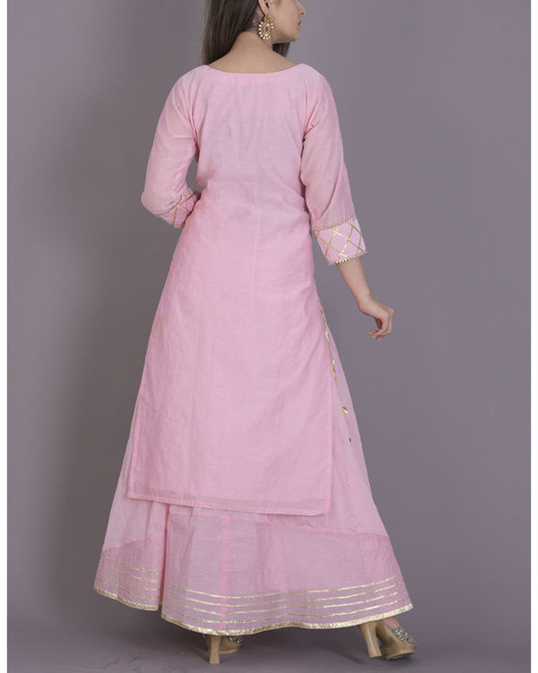 Baby pink gota kurta with flared skirt 2
