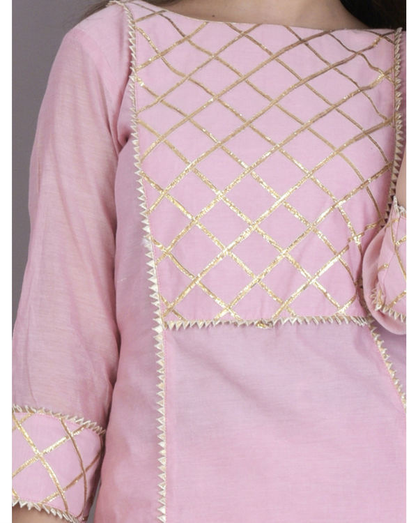 Baby pink gota kurta with flared skirt 1