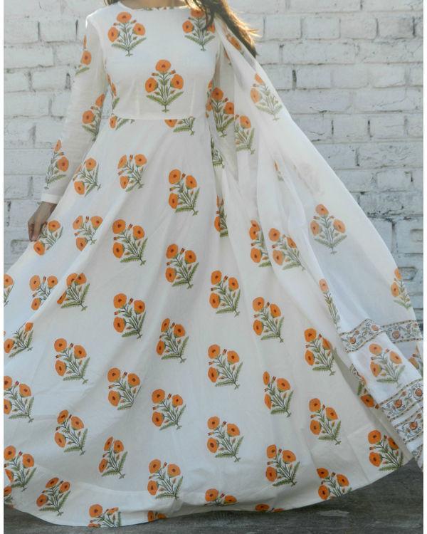 Orange block printed anarkali suit with dupatta 3