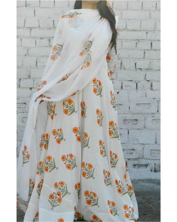 Orange block printed anarkali suit with dupatta 2