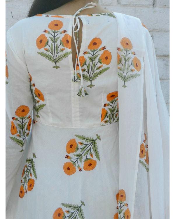 Orange block printed anarkali suit with dupatta 1
