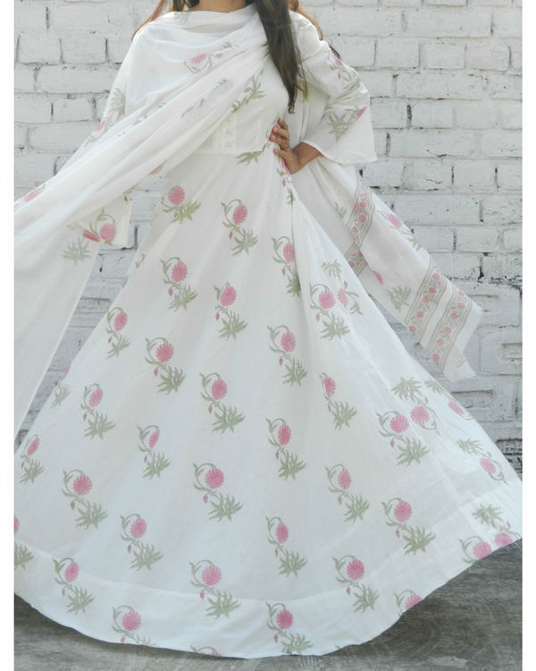 Dahlia pink block printed anarkali suit with dupatta 2