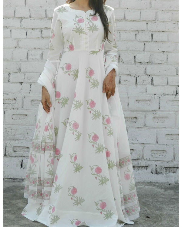 Dahlia pink block printed anarkali suit with dupatta 1