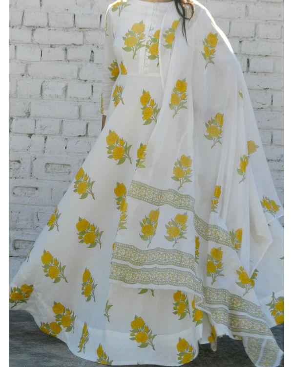 Yellow rose block printed anarkali suit with dupatta 2