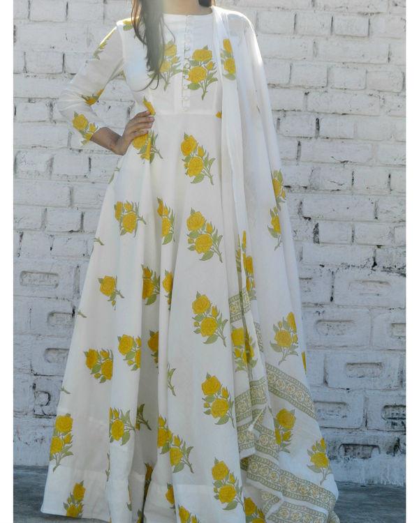 Yellow rose block printed anarkali suit with dupatta 1