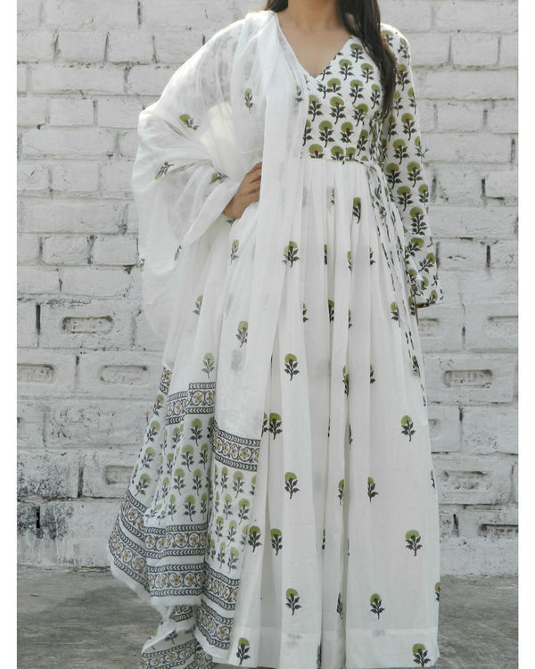 Olive green block printed angrakha suit with dupatta 2