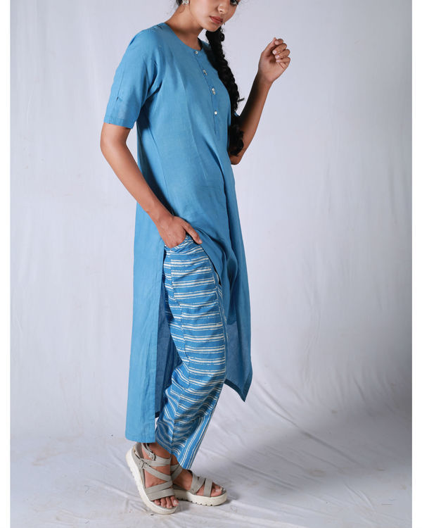 Blue kurta with striped pants 3