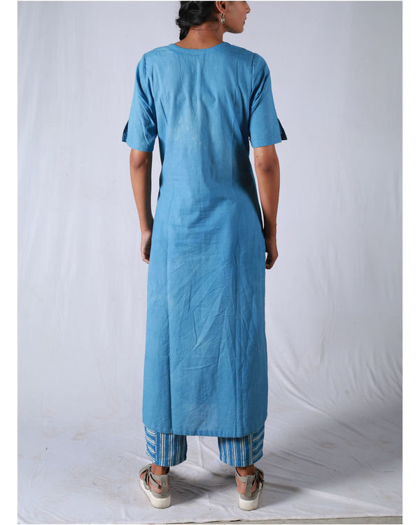 Blue kurta with striped pants 2