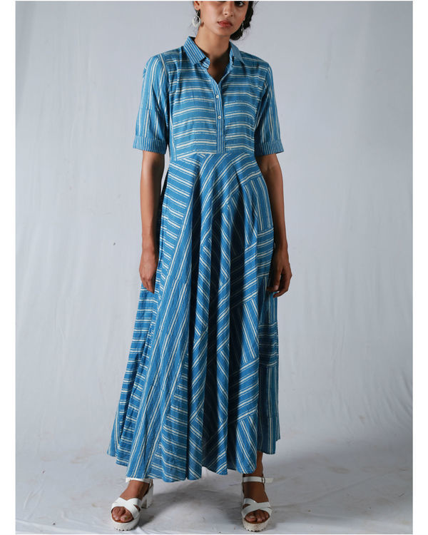 Blue umbrella yoke dress 3
