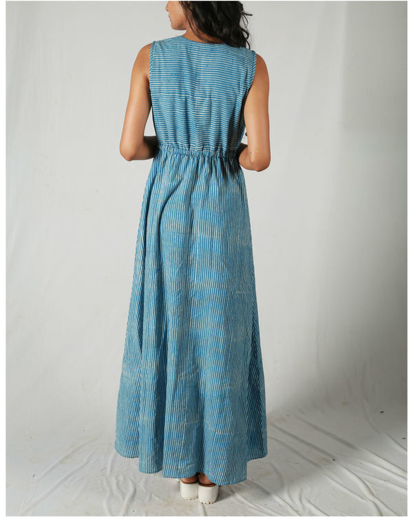 Blue gathered waist maxi 3