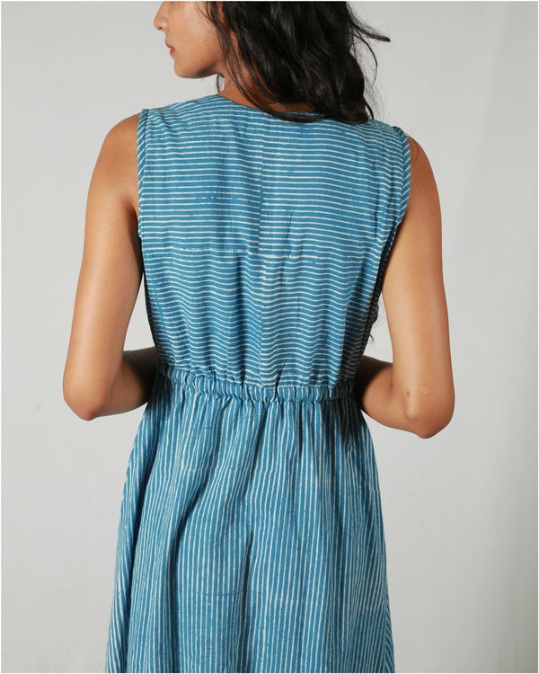 Blue gathered waist maxi 2