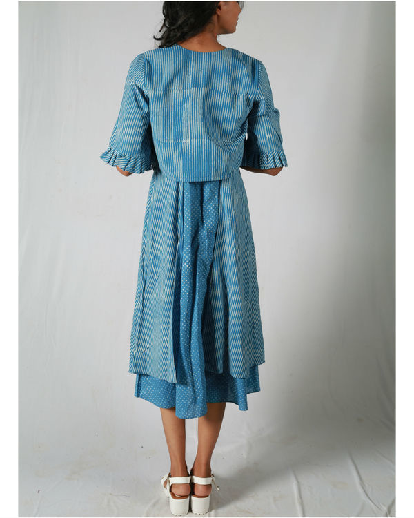 Blue dotted side panel dress with a jacket 4
