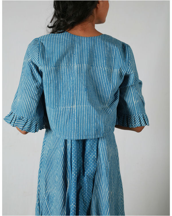 Blue dotted side panel dress with a jacket 3