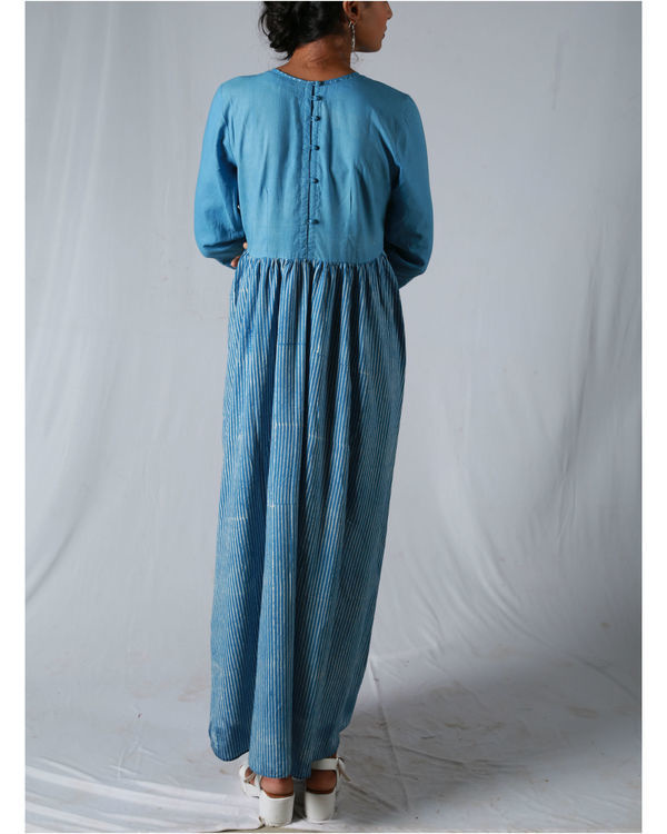 Blue pleated thin striped maxi 1