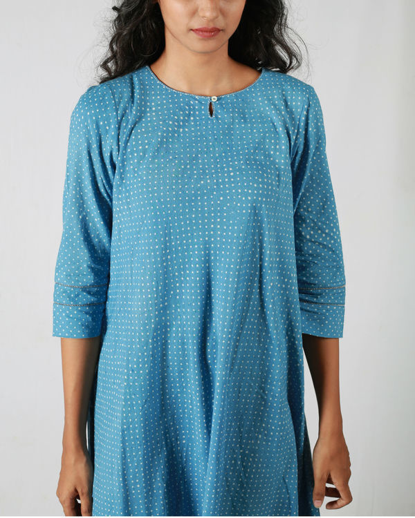Blue dotted flared dress 3