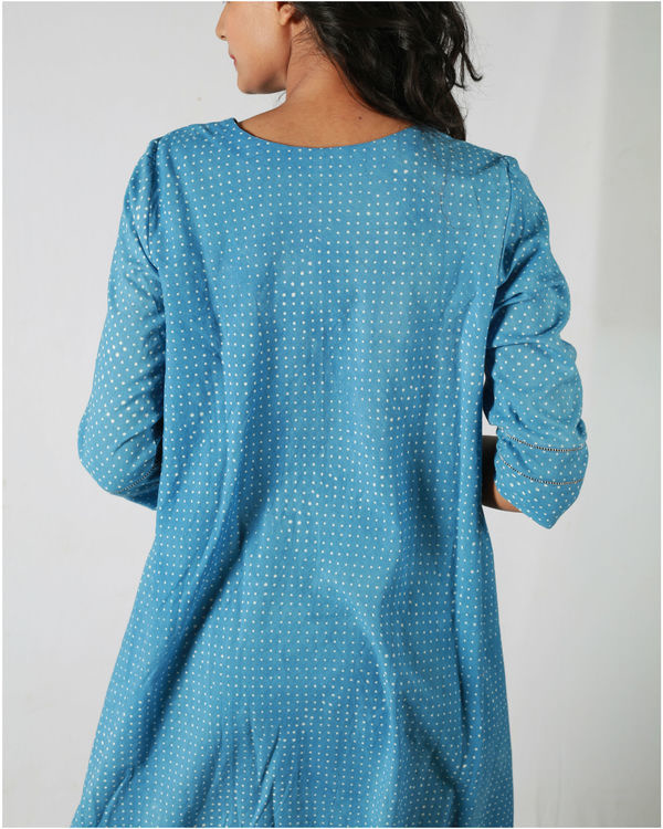 Blue dotted flared dress 1