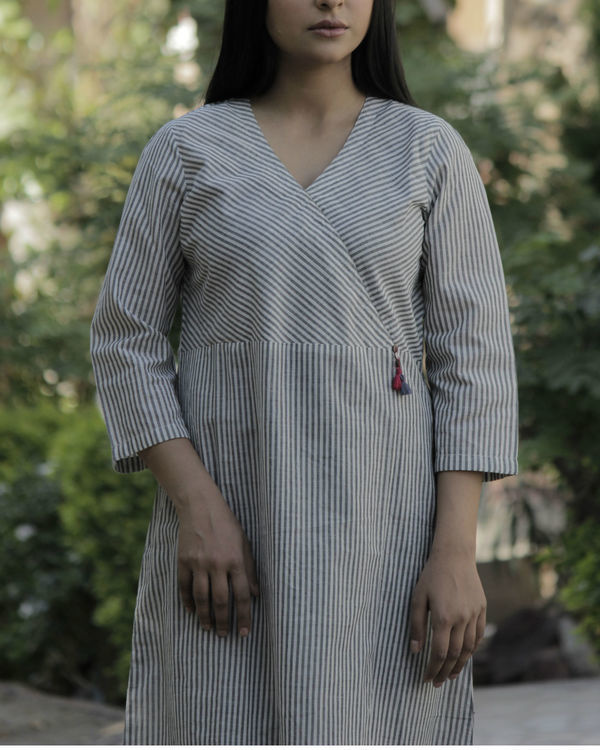 Striped grey angrakha with tassels 2