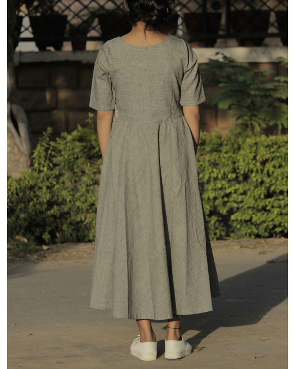 Grey panel flared dress 2