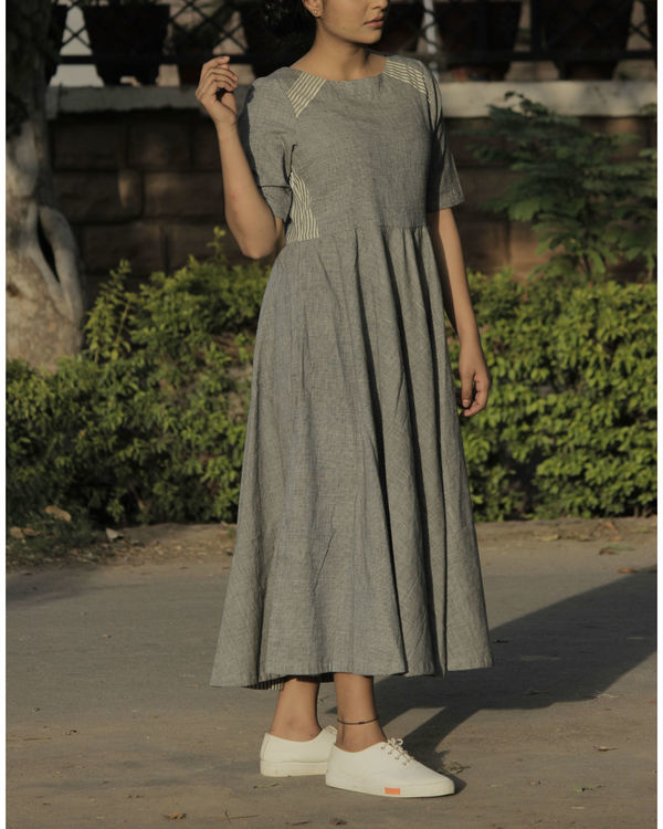 Grey panel flared dress 1