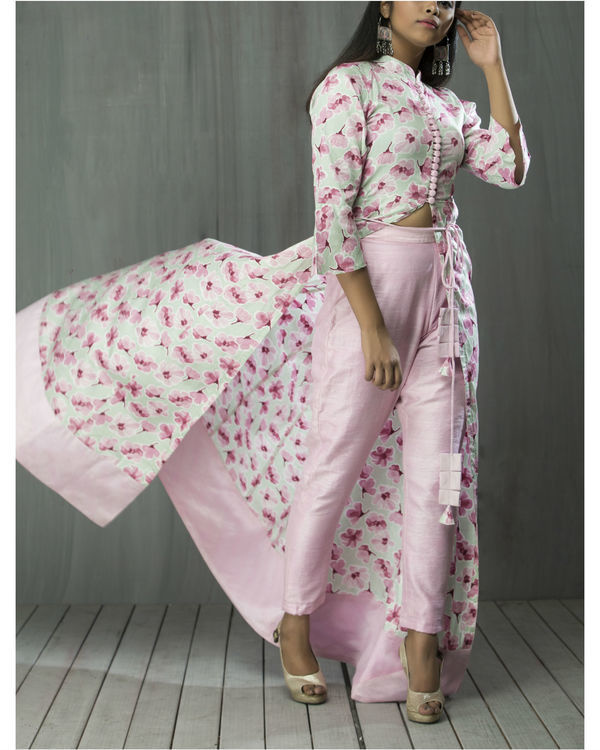 Floral anarkali cape and pant set 3