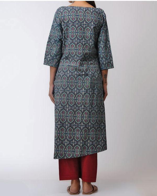 Blue asymmetric ajrakh printed kurta 1