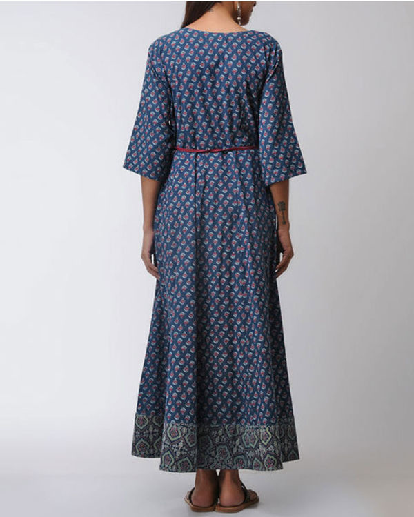 Blue patched ajrakh dress 2