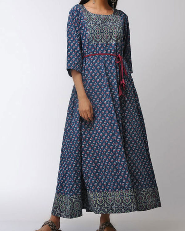 Blue patched ajrakh dress 1