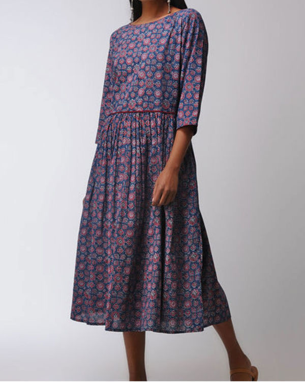 Blue gathered midi dress 1