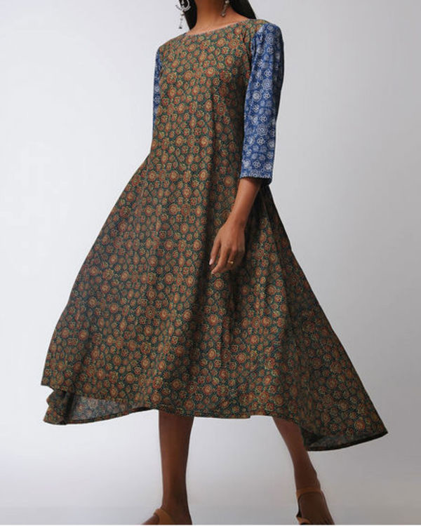 Blue and green ajrakh flared dress 2