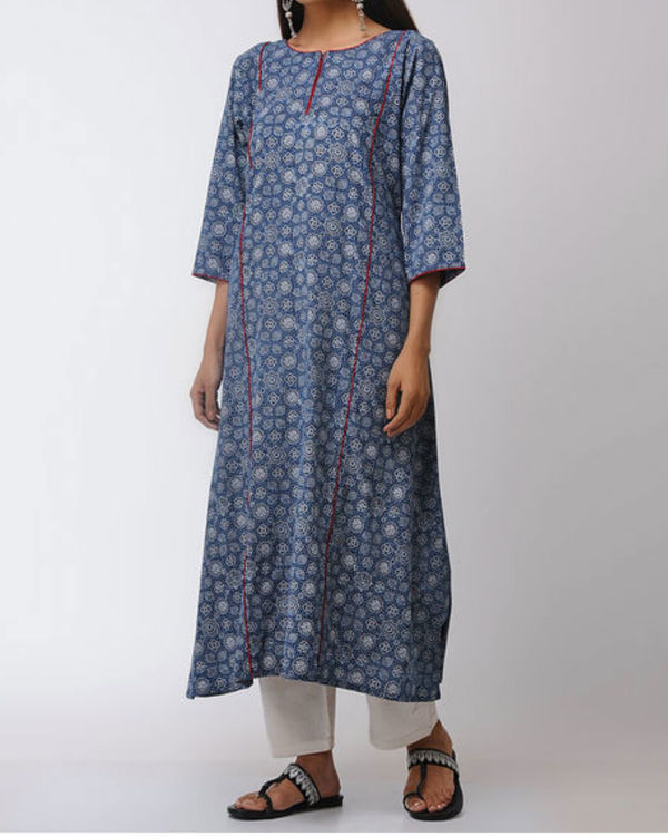 Blue ajrakh straight kurta 1