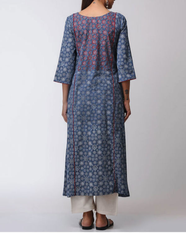 Blue ajrakh straight kurta 2