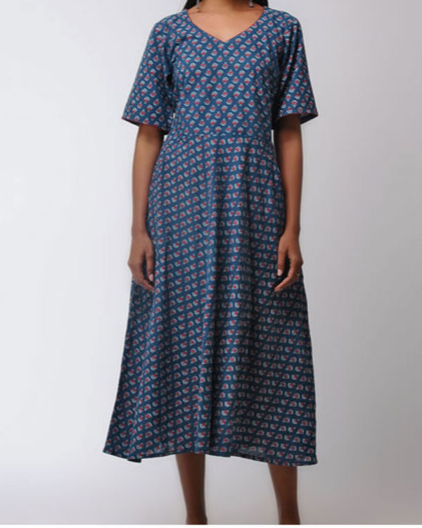 Flared ajrakh midi dress 2