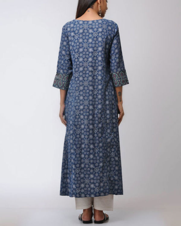 Double layered ajrakh kurta with front slit 1