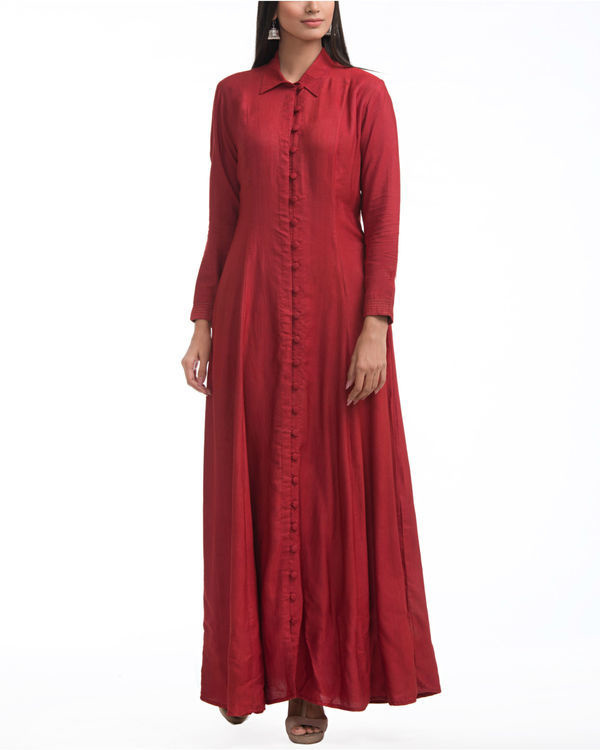 Maroon shirt collar maxi 2
