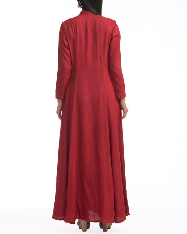 Maroon shirt collar maxi 1
