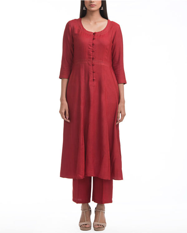 Maroon a-line yoke dress 2